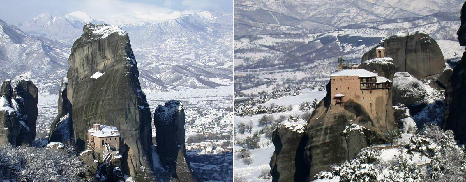 מנזרי מטאורה בשלג
